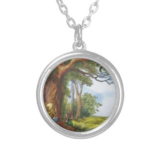 Alice and the Cheshire Cat Silver Plated Necklace