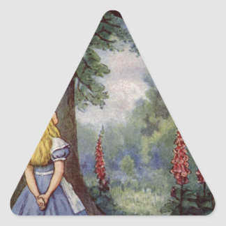 Alice and the Cheshire Cat Triangle Sticker