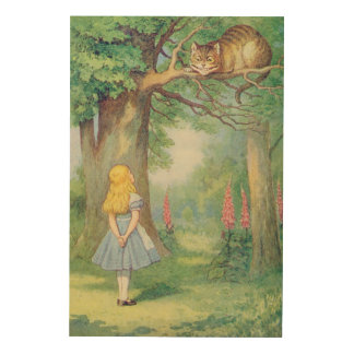 Alice and the Cheshire Cat Wood Canvas