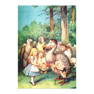 Alice and the Dodo Bird in Wonderland Stretched Canvas Prints