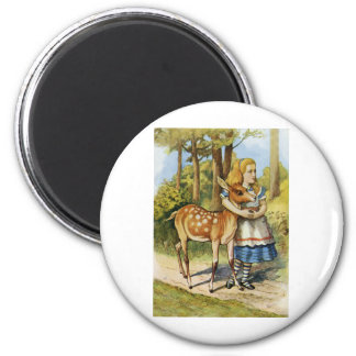ALICE AND THE DOE, A DEER, A FEMALE DEER 6 CM ROUND MAGNET
