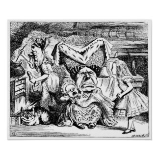Alice and the Duchess, the Cook & the Cheshire Cat Print