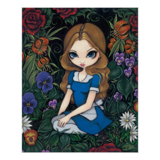 Alice and the Flowers Art Print - in Wonderland