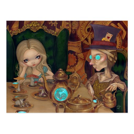 Alice and the Mad Hatter steampunk Postcard