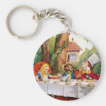 Alice and the Mad Hatter's Tea Party in Wonderland Basic Round Button Key Ring