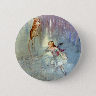 Alice and the Mouse Swim in the Pool of Tears 6 Cm Round Badge