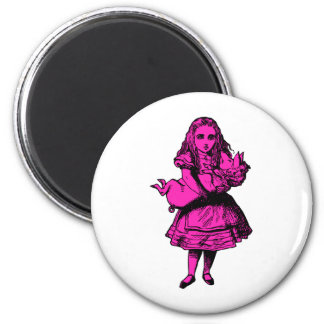 Alice and the Pig Baby Pink Fill 6 Cm Round Magnet