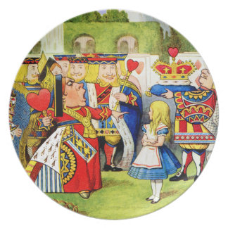 Alice and the Queen of Hearts in Wonderland Dinner Plates