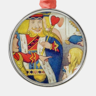 Alice and the Queen of Hearts Metal Ornament