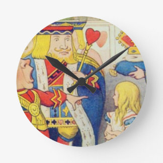Alice and the Queen of Hearts Round Clock