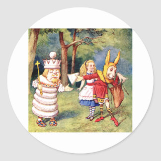 Alice and the White King in Wonderland Classic Round Sticker