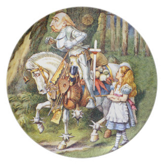 Alice and the White Knight in Wonderland Plates