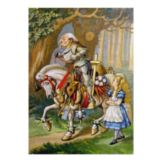 Alice and the White Knight in Wonderland Poster