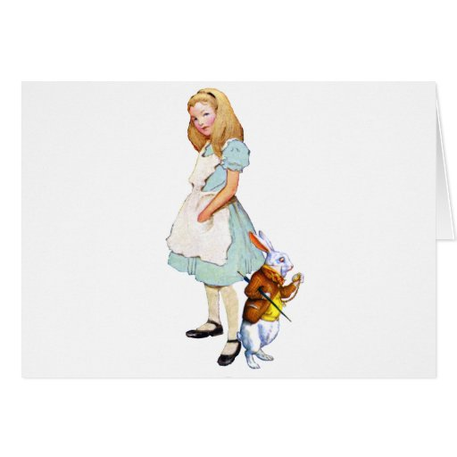 Alice and the White Rabbit in Wonderland Greeting Card