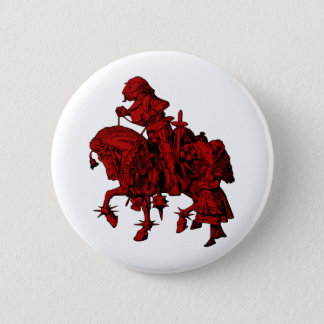 Alice and White Knight Inked Red Fill 6 Cm Round Badge