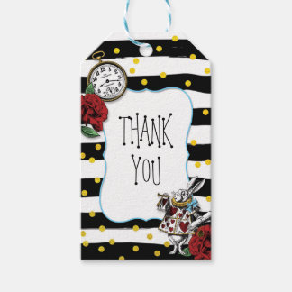 Alice and Wonderland Striped THANK YOU Gift Tags