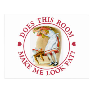 """Alice asks, """"Does this room make me look fat?"""" Postcard"""