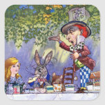 Alice at The Mad Hatter's Tea Party Square Stickers