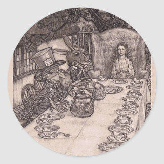 Alice at the Mad Tea Party Round Sticker