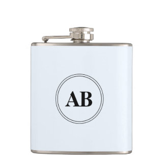 Alice blue solid color with monogram flasks