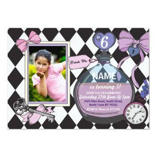 Alice Bow Wonderland Birthday Photo Invitation