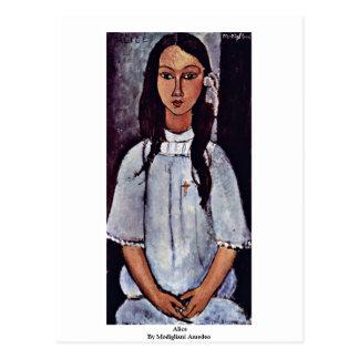 Alice By Modigliani Amedeo Postcard
