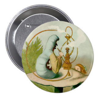 "Alice-Caterpillar w/ Hooka - 3"" Button"