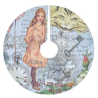 Alice Cheshire Cat and Rabbit Brushed Polyester Tree Skirt