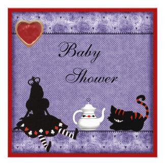 Alice Cheshire Cat Baby Shower Tea Party Invites