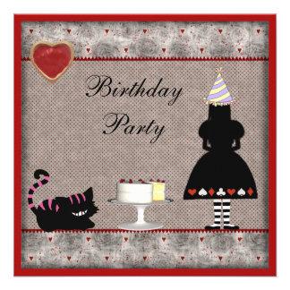 Alice & Cheshire Cat Birthday Party Invites