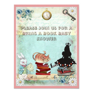 Alice & Cheshire Cat Bring a Book Baby Shower 11 Cm X 14 Cm Invitation Card