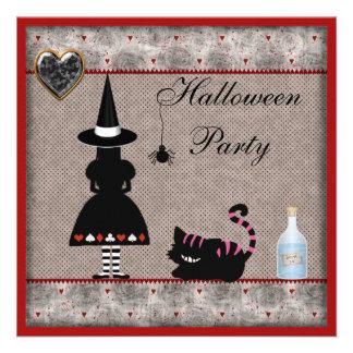 Alice & Cheshire Cat Halloween Party Invites