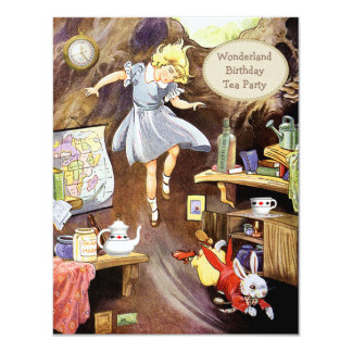 Alice Down the Rabbit Hole Birthday Tea Party Card