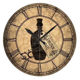 Alice Drink Me Bottle Large Clock