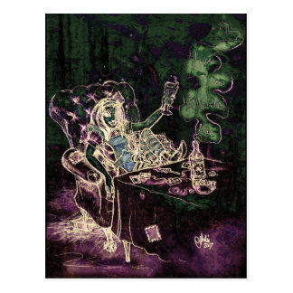 Alice Drinks Absinthe Now (negative) Postcard