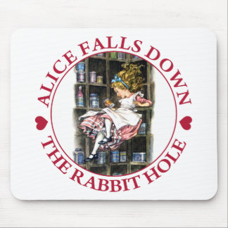 ALICE FALLS DOWN THE RABBIT HOLE MOUSEPADS
