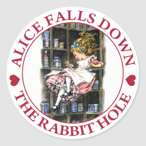 ALICE FALLS DOWN THE RABBIT HOLE ROUND STICKERS