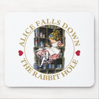 Alice Falls Down the Rabbit Hole to Wonderland Mousepads