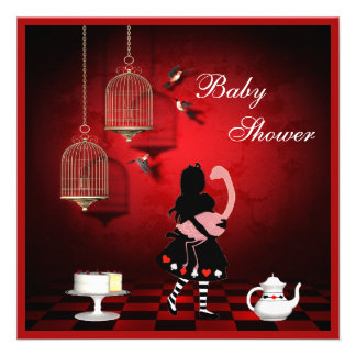 Alice Flamingo Birds Cages Baby Shower Custom Announcement