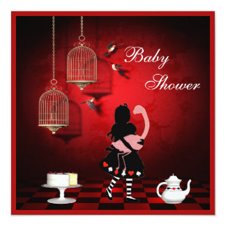 Alice & Flamingo Birds & Cages Baby Shower Custom Announcement