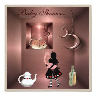 Alice, Flamingo & Cheshire Cat Baby Shower 13 Cm X 13 Cm Square Invitation Card
