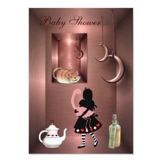 Alice, Flamingo & Cheshire Cat Baby Shower 13 Cm X 18 Cm Invitation Card