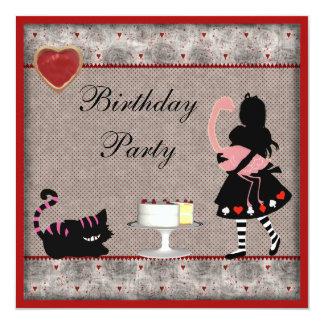 Alice, Flamingo & Cheshire Cat Birthday Party 13 Cm X 13 Cm Square Invitation Card