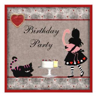 Alice, Flamingo & Cheshire Cat Birthday Party Invite