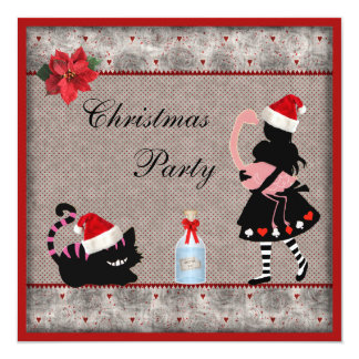 Alice, Flamingo & Cheshire Cat Christmas Party 13 Cm X 13 Cm Square Invitation Card