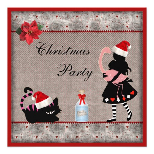 Alice, Flamingo & Cheshire Cat Christmas Party Personalized Announcements