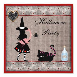 Alice, Flamingo & Cheshire Cat Halloween Party 13 Cm X 13 Cm Square Invitation Card