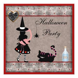 Alice, Flamingo & Cheshire Cat Halloween Party Announcements