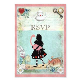 Alice, Flamingo & Cheshire Cat RSVP Invitation