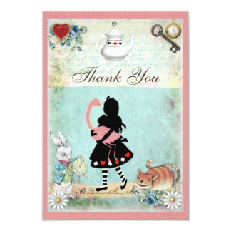 Alice, Flamingo & Cheshire Cat Wedding Thank You 3.5x5 Paper Invitation Card